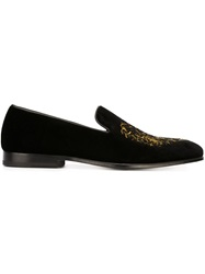 Alexander Mcqueen Lion Embroidered Slippers Black