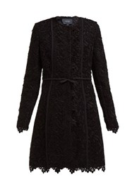 Giambattista Valli Bow Trim Cotton Blend Guipure Lace Coat Black