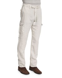 John Varvatos Slim Fit Linen Cargo Pants Fossil Gray Women's Fossil Grey