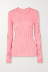 Maggie Marilyn Net Sustain The Sherbet Wool Blend Ribbed Knit Sweater Pink