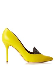 Adam By Adam Lippes X Malone Souliers Brenda Point Toe Leather Pumps Yellow Multi