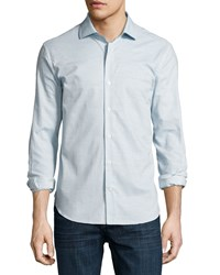 Culturata Ferrada Melange Coupe Cotton Shirt Blue