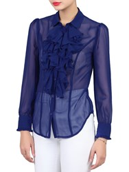 Jolie Moi Chiffon Ruffle Shirt Royal Blue