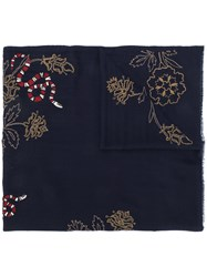 Janavi Snake Embroidered Scarf Blue