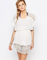 Oasis Lace Trimmed Kaftan Ivory White