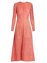Elie Saab Long Sleeved Lace Dress Mid Pink