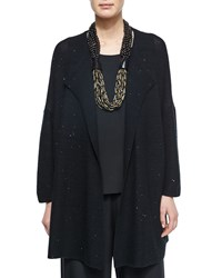Paillette Detailed Cashmere Blend Jacket Black Eskandar