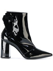 Robert Clergerie Velvet Bow Ankle Boots Leather Patent Leather 38.5 Black