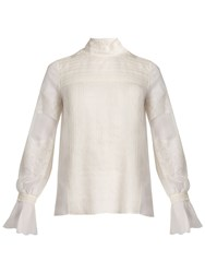 Valentino Lace Trimmed High Neck Silk Blouse Ivory