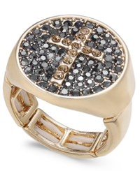 Thalia Sodi Gold Tone Pave Cross Stretch Ring Created For Macy's