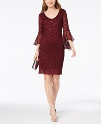 Connected Petite Sequined Lace Bell Sleeve Dress Bordeaux