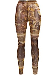 Jean Paul Gaultier Vintage American Indians Print Leggings Brown
