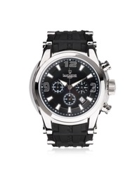 Lancaster Bongo Chrono Men's Silver Stainless Steel Watch W Black Rubber Strap