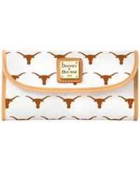 Dooney And Bourke Texas Longhorns Large Continental Clutch White