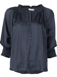 Ulla Johnson Tie Neck Ruffle Trim Batwing 'Phoebe' Blouse Blue