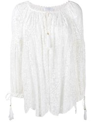 Zimmermann 'Gossamer' Floral Embroidered Blouse White