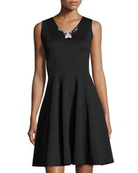 Donna Ricco Jewel Embellished Fit And Flare Scuba Dress Black