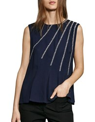 French Connection Sleeveless Whip Stitched Drape Top Utility Blue