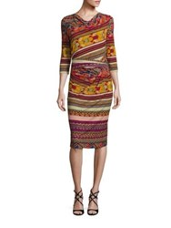 Etro Three Quarter Sleeve Printed Jersey Dress Red Multi