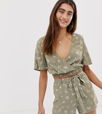 Pull And Bear Pullandbear Pacific Wrap Top Co Ord In Green Floral Print