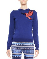 Mary Katrantzou Dove Embroidered Knit Sweater Blue