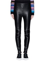 Saint Laurent Zip Knee Leather Leggings Black