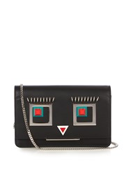 Fendi Square Eyes Leather Cross Body Bag Black Multi