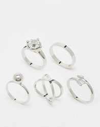 Monki Assorted Ring Back Silver