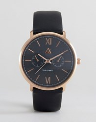Asos Watch In Black And Rose Gold Black