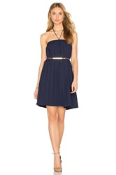 Lucca Couture Halter Linen Gauze Dress Navy