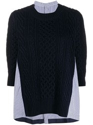 Sacai Panelled Sweater Blue