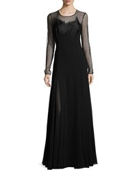 Halston Heritage Sheer Long Sleeve Embroidered Evening Gown Black