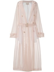 Erika Cavallini Semi Sheer Belted Trench Coat Nude And Neutrals