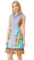 Stella Jean Sleeveless Striped Dress Multi Color