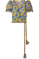 Apiece Apart Chabrol Printed Cotton And Silk Blend Voile Wrap Top Yellow
