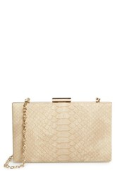 Sondra Roberts Snake Embossed Box Clutch Brown Natural