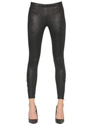 David Lerner Snakeskin Print Stretch Jersey Leggings Black
