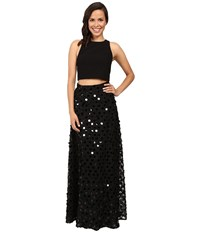 Aidan Mattox Two Piece Solid Crepe Halter Top With Embellished A Line Ball Skirt Black Women's Dress