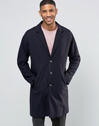 Asos Single Breasted Overcoat In Navy Navy