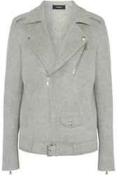 Theory Tralsmin Double Faced Wool And Cashmere Blend Biker Jacket Gray
