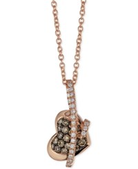 Le Vian Chocolatier Diamond Heart Pendant Necklace 1 3 Ct. T.W. In 14K Rose Gold