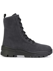 Yeezy Military Ankle Boots Calf Leather Calf Suede Rubber Grey