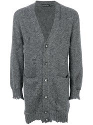 Alexander Mcqueen Distressed Longline Cardigan Men Silk Mohair M Grey