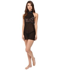 Hanky Panky Love Tied Open Back Babydoll Black Women's Lingerie