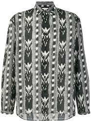 Saint Laurent Abstract Pattern Shirt Cotton Black