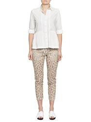 French Connection Niko Broderie Printed Trousers Summer White Multi