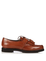 Tod's Gomma Fringed Lace Up Shoes Light Brown
