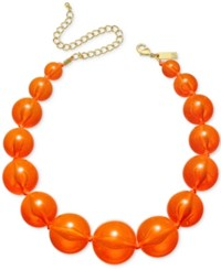 Inc International Concepts Gold Tone Graduated Acrylic Bead Collar Necklace Only At Macy's Orange