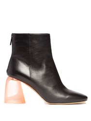 Ellery Sared Plexi Heel Leather Ankle Boots Black Pink
