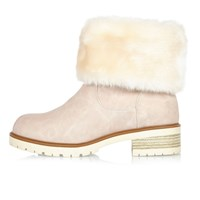 River Island Womens Light Pink Faux Fur Lined Chunky Boots
